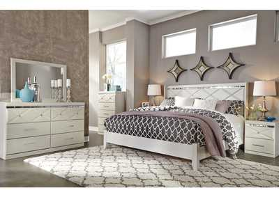 Dreamur Champagne King Panel Bed w/Dresser, Mirror & Drawer Chest