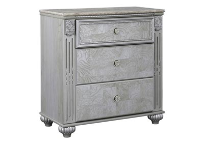 Zolena Silver 3 Drawer Nightstand