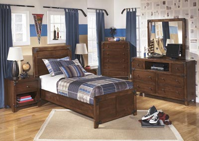 Delburne Twin Panel Bed w/Dresser, Mirror & Chest