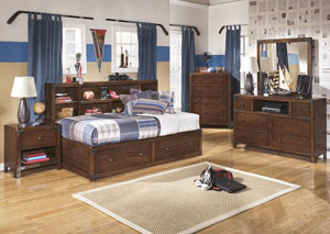 Delburne Full Storage Captains Bed w/Dresser, Mirror & Chest
