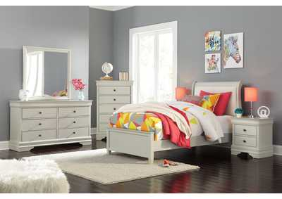 Image for Jorstad Gray Upholstered Sleigh Full Bed w/Dresser & Mirror