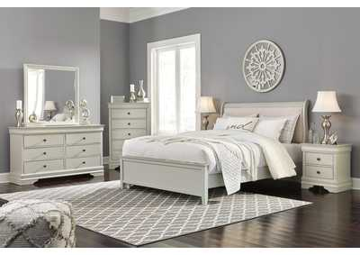 Jorstad Gray Upholstered Sleigh King Bed w/Dresser & Mirror