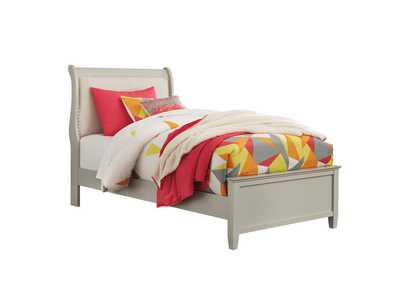 Jorstad Gray Upholstered Sleigh Twin Bed