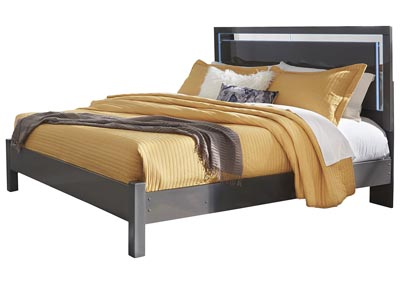 Steelson Gray King LED Panel Bed
