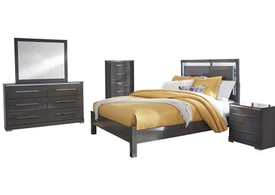 Steelson Gray Queen LED Panel Bed w/Dresser and Mirror