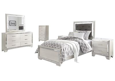 Lonnix Twin Panel Bed w/Dresser & Mirror