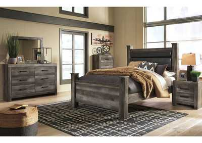 Wynnlow Gray King Upholstered Bed and Dresser w/Mirror