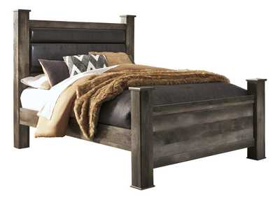Wynnlow Gray Queen Upholstered Poster Bed
