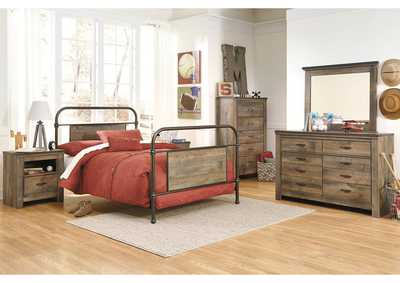 Trinell Brown Full Metal Bed w/Dresser, Mirror, Drawer Chest & Nightstand