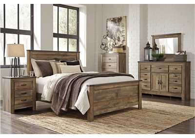 Trinell Queen Panel Bed w/Dresser, Mirror and Five Drawer Chest