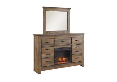 Trinell Brown Dresser with Fireplace Insert