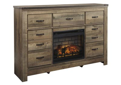Trinell Brown Dresser w/Fireplace Insert Infrared