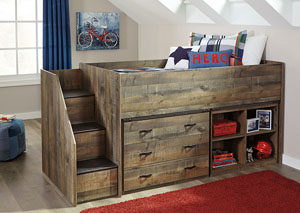 Trinell Brown Twin Loft Bed w/Left Storage Steps, Bookcase and Drawer Storage,Signature Design By Ashley