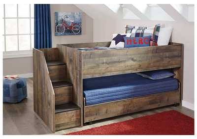 Trinell Brown Twin Loft Caster Bed