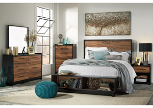 Stavani Black/Brown King Storage Platform Bed w/Dresser, Mirror, Drawer Chest & Nightstand