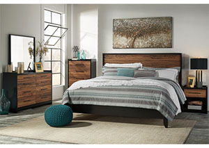 Stavani Black/Brown Queen Panel Bed w/Dresser, Mirror & Nightstand