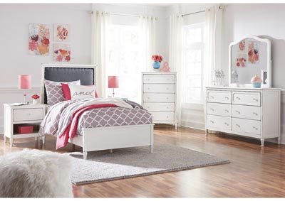 Faelene Chipped White Twin Upholstered Panel Bed and Dresser w/Mirror