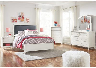 Faelene Chipped White Full Upholstered Panel Bed and Dresser w/Mirror