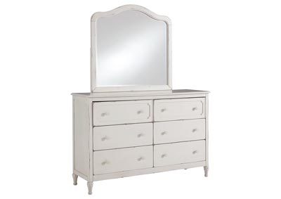 Faelene Chipped White Dresser w/Mirror
