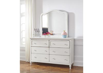 Faelene Chipped White Dresser w/Mirror,Signature Design By Ashley