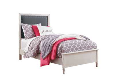 Faelene Chipped White Twin Upholstered Panel Bed