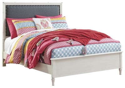 Faelene Chipped White Full Upholstered Panel Bed