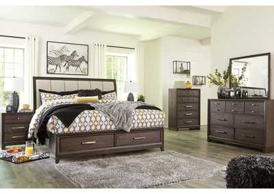 Brueban Gray Storage Queen Bed w/Dresser and Mirror