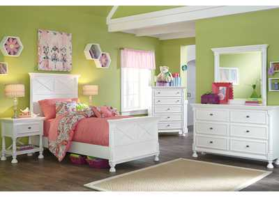 Kaslyn Twin Panel Bed, Dresser, Mirror, Chest & Night Stand