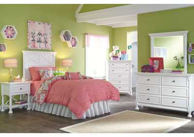 Kaslyn Twin Panel Headboard w/Dresser, Mirror, Chest & Nightstand