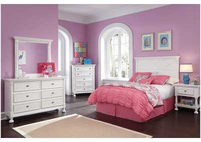 Kaslyn Full Panel Headboard w/Dresser, Mirror, Chest & Nightstand
