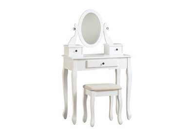 Image for Kaslyn White Vanity and Mirror with Stool