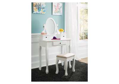 Kaslyn White Vanity w/Mirror & Stool,Signature Design By Ashley