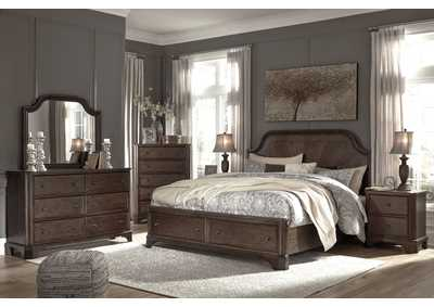 Adinton Brown Queen Storage Bed w/Dresser and Mirror