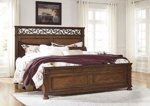 Lazzene Medium Brown King Panel Bed