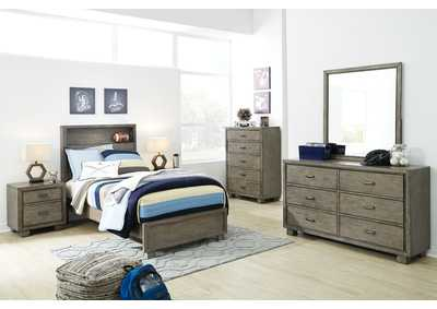 Arnett Gray Full Bookcase Panel Bed w/Dresser and Mirror
