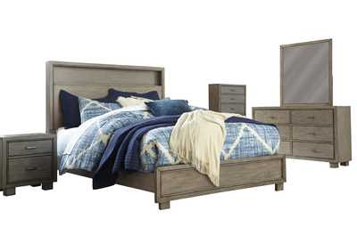 Arnett Gray Queen Panel Bed w/Dresser and Mirror