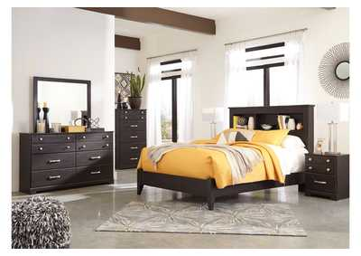 Image for Reylow Dark Brown Queen Bookcase Panel Bed w/Dresser & Mirror