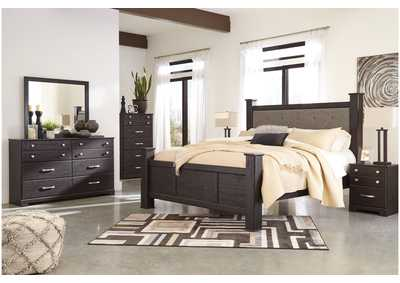 Reylow Dark Brown King Bed Set w/King Upholstered Poster Bed and Dresser w/Mirror