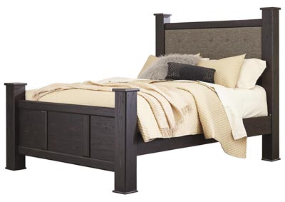 Image for Reylow Dark Brown Queen Upholstered Poster Bed