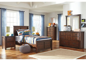 Ladiville Twin Panel Bed w/Dresser, Mirror, Chest & Nightstand
