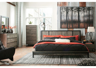 Cazentine Grayish Brown Queen Platform Bed w/Dresser and Mirror