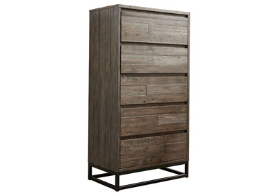 Cazentine Grayish Brown Five Drawer Chest