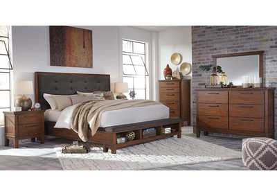 Ralene Medium Brown King Upholstered Storage Bed w/Dresser, Mirror, Drawer Chest and Nightstand