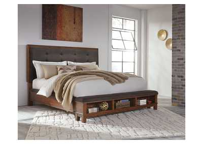 Ralene Medium Brown King Upholstered Storage Bed