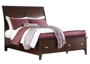 Evanburg Brown California King Sleigh Storage Bed