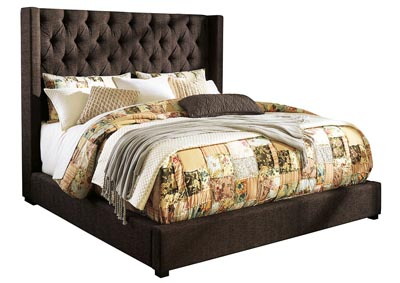 Norrister Brown Queen Upholstered Platform Bed