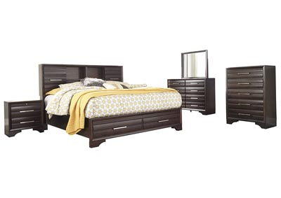 Andriel Dark Brown California King Bookcase Storage Bed