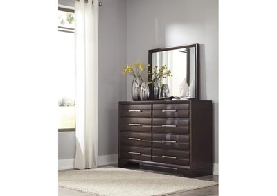 Andriel Dark Brown Dresser w/Mirror