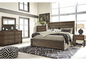 Leystone Dark Brown Queen Panel Bed w/Dresser, Mirror & Nightstand