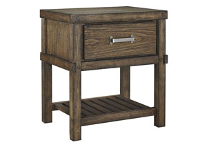 Leystone Dark Brown 1 Drawer Nightstand